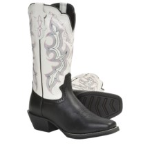 Justin Boots Stampede Punchy Cowboy Boots - Leather, Square Toe (For Women) in Black/White - Closeouts