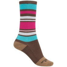 Justin Boots Stripe Socks - Crew (For Women) in Brown/Teal/Magenta - Closeouts