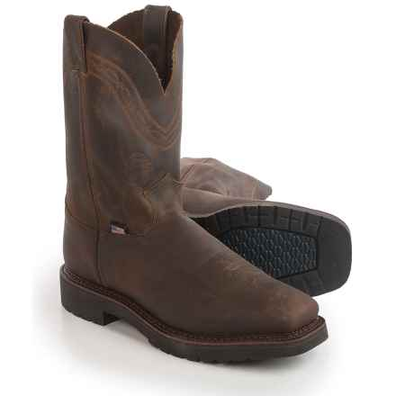 Justin Boots Sunderland Crazyhorse Work Boots - Pull-On (For Men) in Tan Crazyhorse - Closeouts
