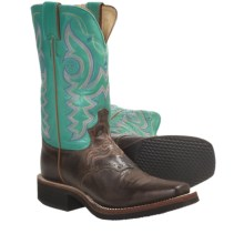 Justin Boots Vintage Goat Cowboy Boots - J-125 Square Toe (For Women) in Antique Tan - Closeouts