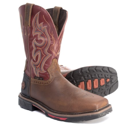 Justin Joist Western Work Boots - Composite Safety Toe (For Men) in Red Oiled
