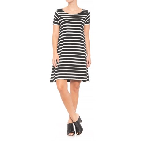 JV Joan Vass Dresses A-Line Scoop Neck Dress - Short Sleeve (For Women) in Black/Swan