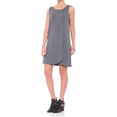 JV Joan Vass Dresses Front Wrap Tank Dress - Sleeveless (For Women) in Blue