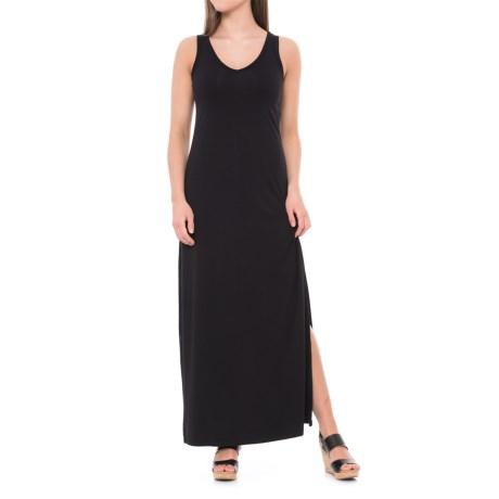 JV Joan Vass Dresses Jersey Tank Maxi Dress - Sleeveless (For Women) in Black