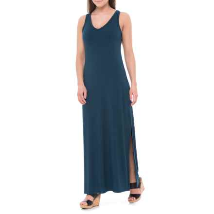 JV Joan Vass Dresses Jersey Tank Maxi Dress - Sleeveless (For Women) in Midnight - Closeouts