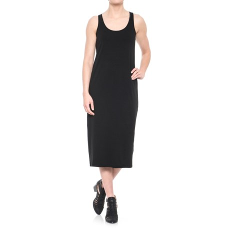 JV Joan Vass Dresses Long Jersey Tank Dress - Sleeveless (For Women) in Black