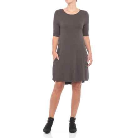 JV Joan Vass Dresses Swing Dress - Elbow Sleeve (For Women) in Charcoal - Closeouts