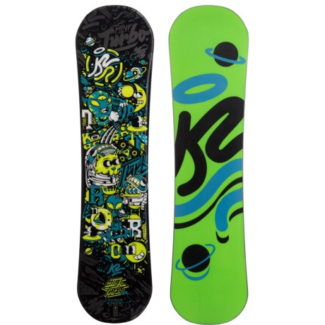 K2 Mini Turbo Snowboard (For Little and Big Kids) in Galactic W/Neon Green/Black Planet/Blue
