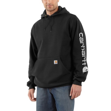K288 Midweight Hooded Logo Sweatshirt (for Big And Tall Men) Black (3xl )