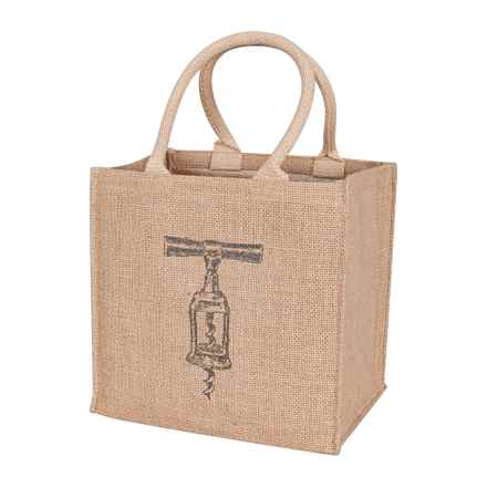 KAF Home Jute Wine Bag - 4-Bottle Capacity in Pewter - Closeouts