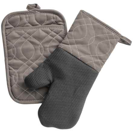 KAF Home Oven Mitt and Pot Holder Set in Pewter - Closeouts