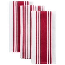KAF Home Striped Kitchen Towels - Set of 3 in Cherry - Closeouts