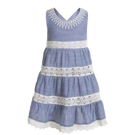 KAISELY Crisscross Strap Multi-Tier Dress - Sleeveless (For Toddler Girls) in Blue - Closeouts