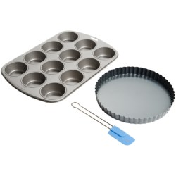 Kaiser Muffin Pan, Quiche Pan and Spatula Set - 3-Piece in See Photo