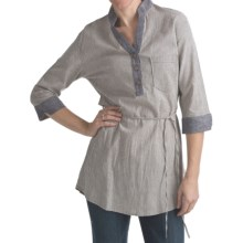 Kakadu Ashley Henley Shirt - Cotton-Linen, 3/4 Sleeve (For Women) in Blue/White - Closeouts