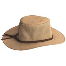 Kakadu Bendigo Mossback Suede Hat - UPF 50+ (For Men and Women) in Tan - Closeouts