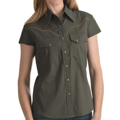 Kakadu Carson 5 oz. Gunn-Worn Canvas Shirt - Short Sleeve (For Women) in Tobacco