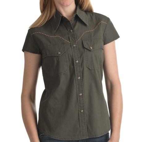 Kakadu Carson 5 oz. Gunn-Worn Canvas Shirt - Short Sleeve (For Women) in Tobacco