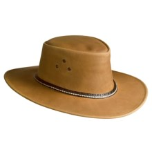 Kakadu Coolongatta Vintage Leather Brim Hat (For Men and Women) in Coffee - Closeouts