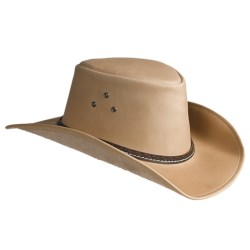 Kakadu Coolongatta Vintage Leather Hat - Welt Band, Shapeable Brim (For Men and Women) in Bone