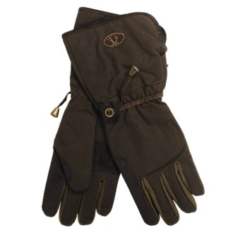 Kakadu Gauntlet Oilskin Motorcycle Gloves (For Men and Women) in Brown
