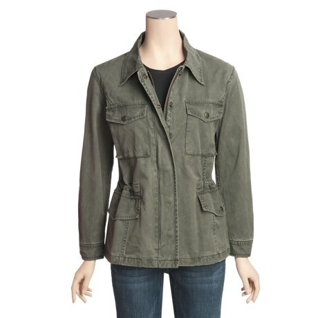 Kakadu Jackie Jacket - 8 oz. Cotton Canvas, Barrel Washed (For Women) in Sage