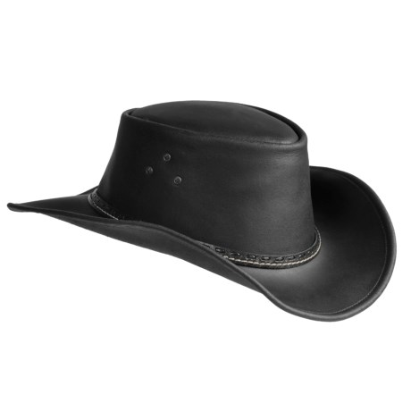Kakadu The Barcoo Slicker Leather Shapeable Brim Hat (For Men and Women) in Black