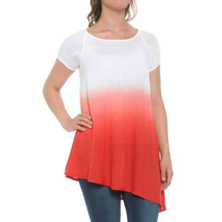 Kaktus Dip-Dye Asymmetrical Tunic Shirt - Short Sleeve (For Women) in Coral - Closeouts