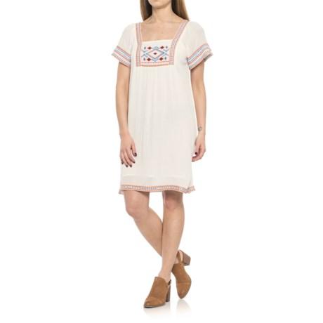 Kaktus Embroidered Dress - Short Sleeve (For Women) in White Orange