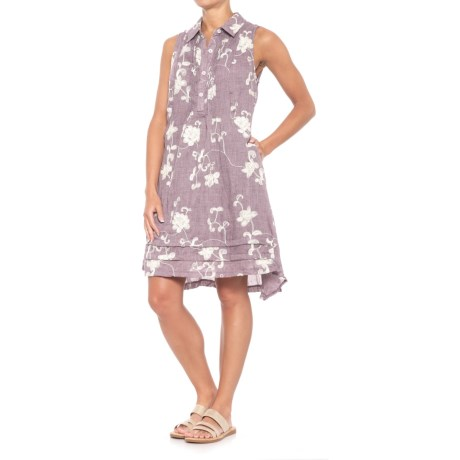 Kaktus Embroidered Shirtdress - Sleeveless (For Women) in Purple