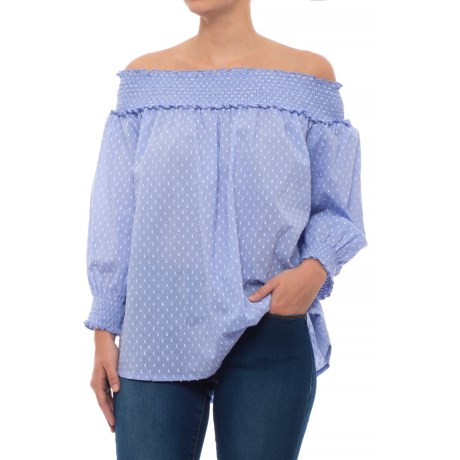Kaktus Off-the-Shoulder Clip Dot Shirt - Long Sleeve (For Women) in Chambray