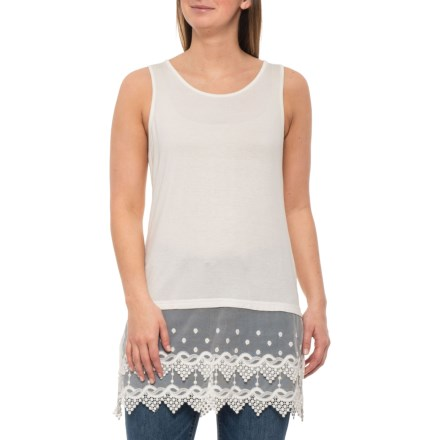 fad0444451d7a4 Kaktus Off White Lace Trim Tank Top (For Women) in Off White - Closeouts