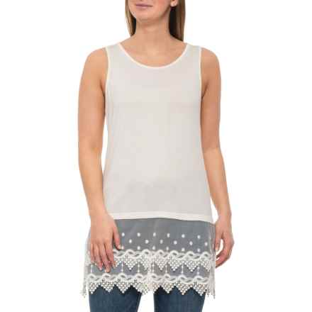 Kaktus Off White Lace Trim Tank Top (For Women) in Off White - Closeouts