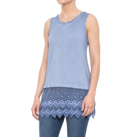 Kaktus Pigment-Washed Lace Tank Top (For Women) in Chambray