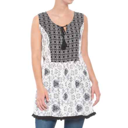 Kaktus Printed Tunic Tank Top (For Women) in Black - Closeouts