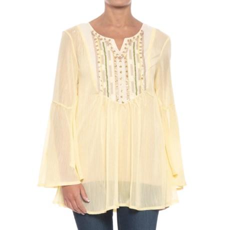 Kaktus Shimmer Tunic Shirt - Long Bell Sleeve (For Women) in Yellow