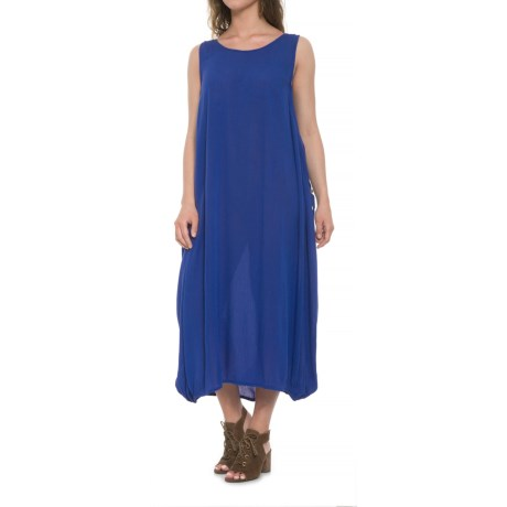 Kaktus Solid Maxi Patio Dress - Sleeveless (For Women) in Royal