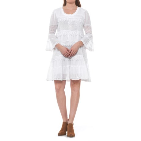 Kaktus Tiered Crochet Dress - 3/4 Sleeve (For Women) in White