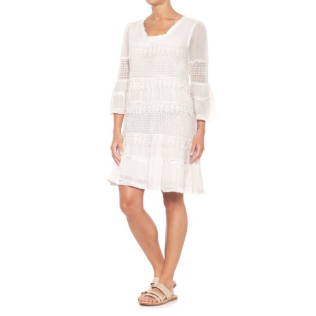 Kaktus Tiered Embroidered Dress - 3/4 Sleeve (For Women)