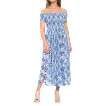 Kaktus Two-Ways to Wear Printed Midi Dress - Short Sleeve (For Women) in Blue - Closeouts