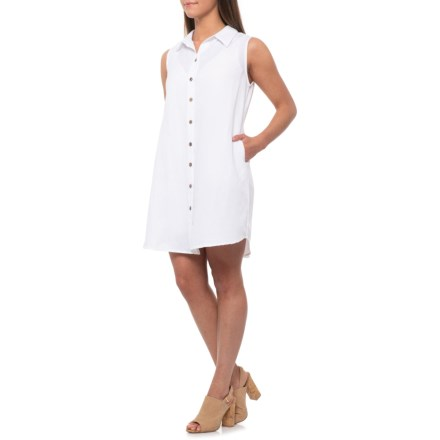 b3c3474fb3 Kaktus White Linen-Cotton Dress - Sleeveless (For Women) in White -  Closeouts