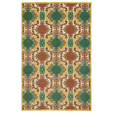 "Kaleen Breath of Fresh Air Indoor-Outdoor Accent Rug - 2'1""x4' in Gold Diamonds - Overstock"