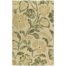 "Kaleen Calais Lily in the Valley Washed Virgin Wool Area Rug - 5'x7'9"" in Beige - Closeouts"