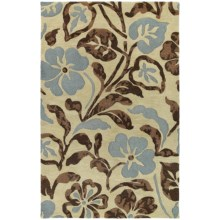 "Kaleen Calais Lily in the Valley Washed Virgin Wool Area Rug - 5'x7'9"" in Linen - Closeouts"
