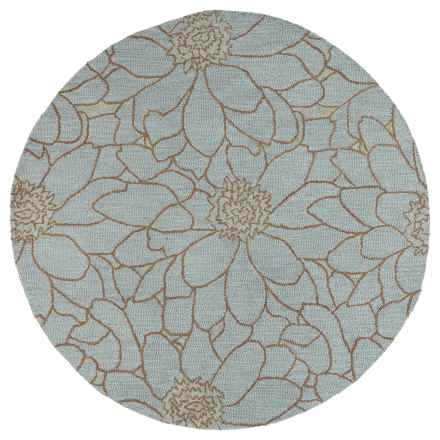 """Kaleen Carriage Collection Wool Round Area Rug - 7'9"""" in City Park Azure - Overstock"""