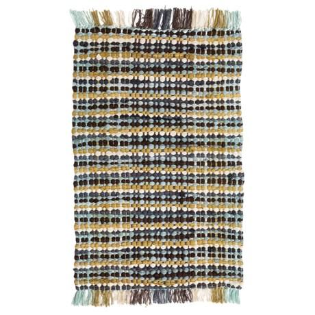 "Kaleen Chindi Block Rug - 27x45"", Cotton in Small Check Spa Blue"