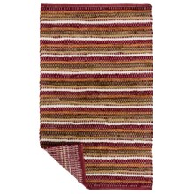 """Kaleen Chindi Stripe Accent Rug - 27x45"""" in Red - Closeouts"""