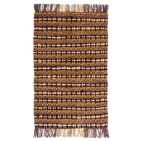 "Kaleen Cotton Chindi Block Rugs - 27x45"", Cotton, Rectangular in Small Check Mocha"