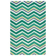 Kaleen Escape Chevron Indoor-Outdoor Accent Rug - 4x6' in Emerald - Closeouts