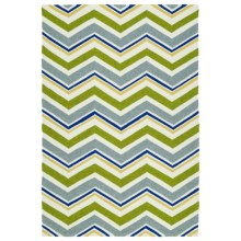Kaleen Escape Chevron Indoor-Outdoor Accent Rug - 4x6' in Green - Closeouts
